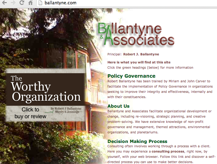 The modified home page of Ballantyne and Associates
